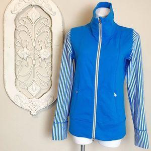 Lululemon | Blue White Stripe Zip Up Jacket 8